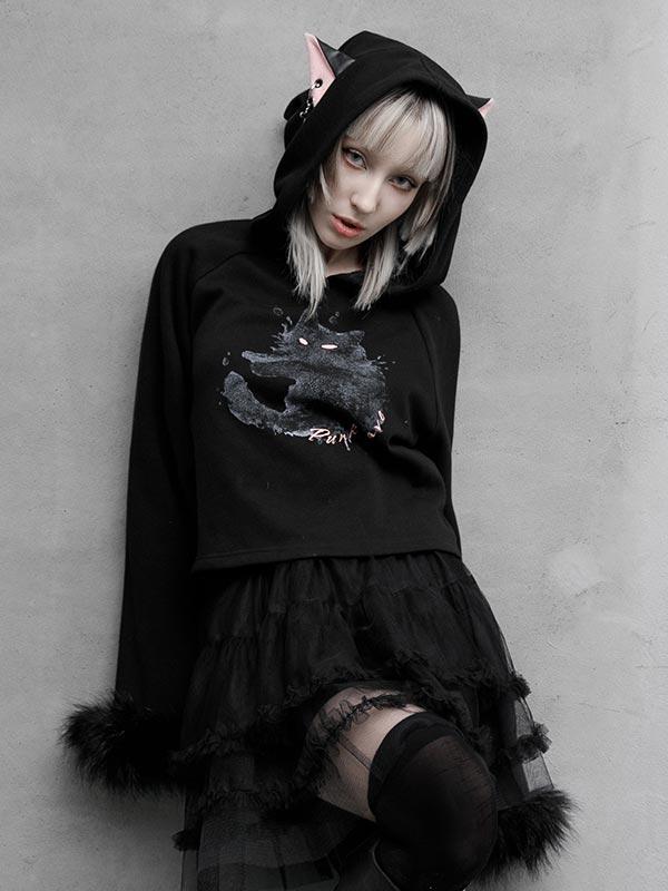 Daily Life Cat Print Fur Trim Hoodie - Black