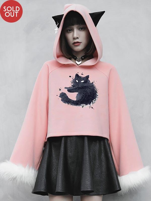 Daily Life Cat Print Fur Trim Hoodie - Pink