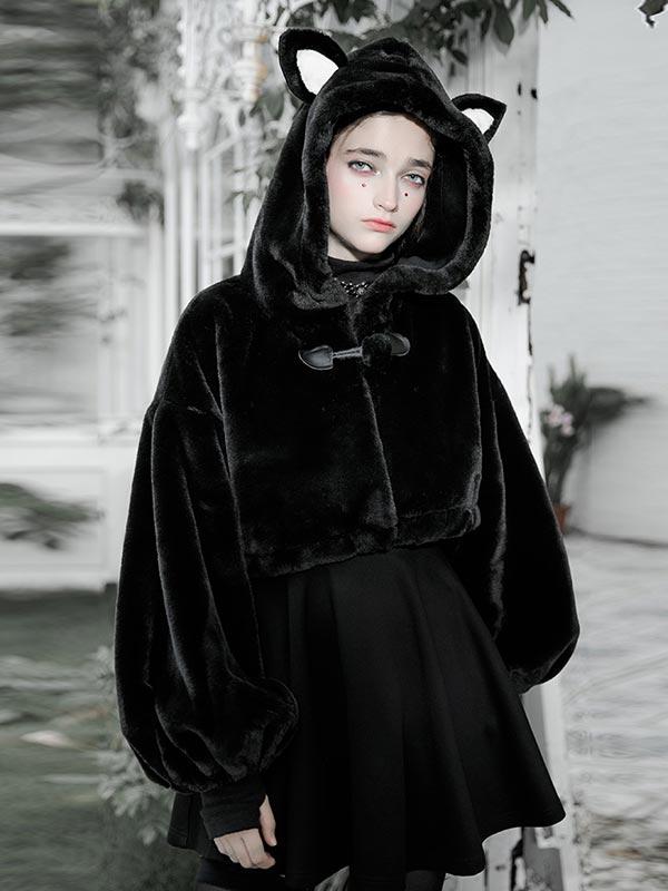 Daily Life Little Bunny Bear Short Hoodie Jacket - Black
