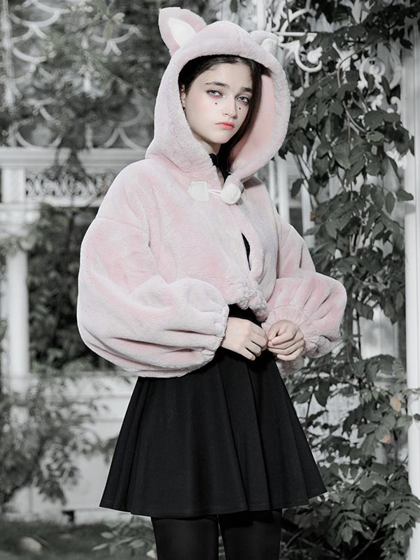 Daily Life Little Bunny Bear Short Hoodie Jacket - Pink