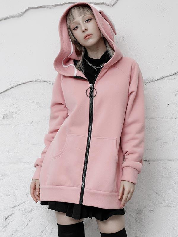Daily Life Original 'Dark Rabbit' Pink Hoodie Jacket