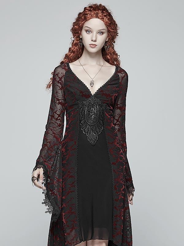 Gothic Goddess Classic Black & Red High Low Dress