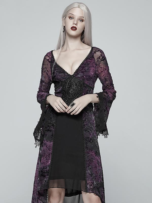 Gothic Goddess Classic Black & Violet High Low Dress