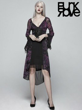 Gothic Goddess Classic Black & Violet High Low Dress