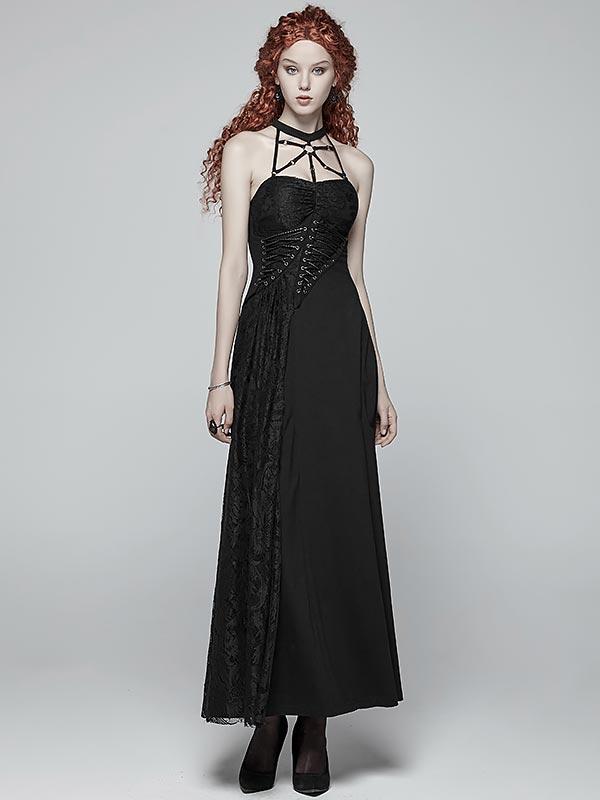 Gothic Cobweb Halterneck Dress