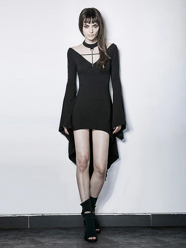 Gothic Dark Witch Long Sleeve High/Low Dress