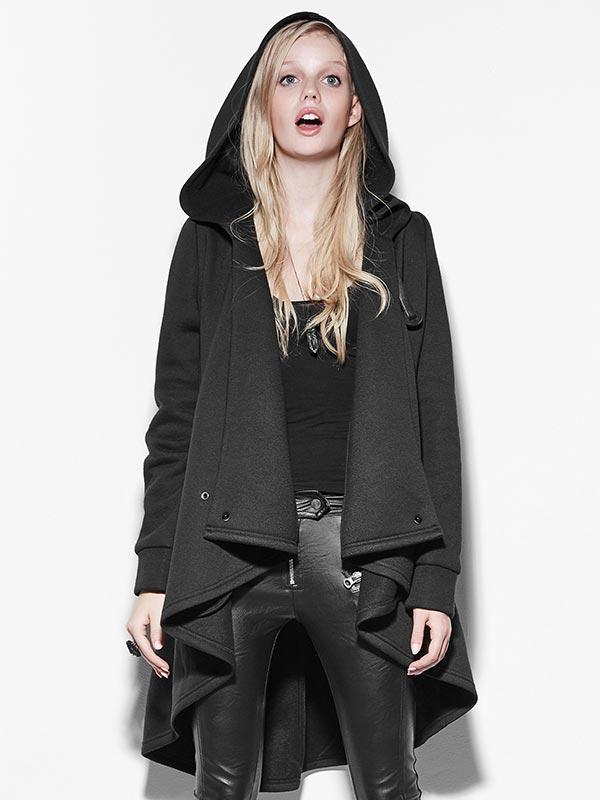 Punk Personality Irregular Long Hoodie Cloak Jacket
