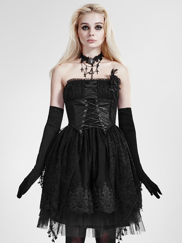 Gothic Lolita Strapless Black Dress