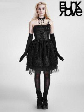 Gothic Lolita Strapless Black Dress