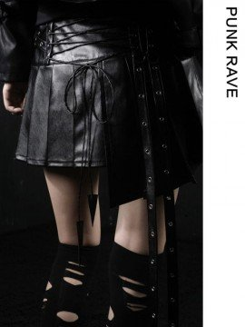 Gothic Pleated Mini Leather Skirt