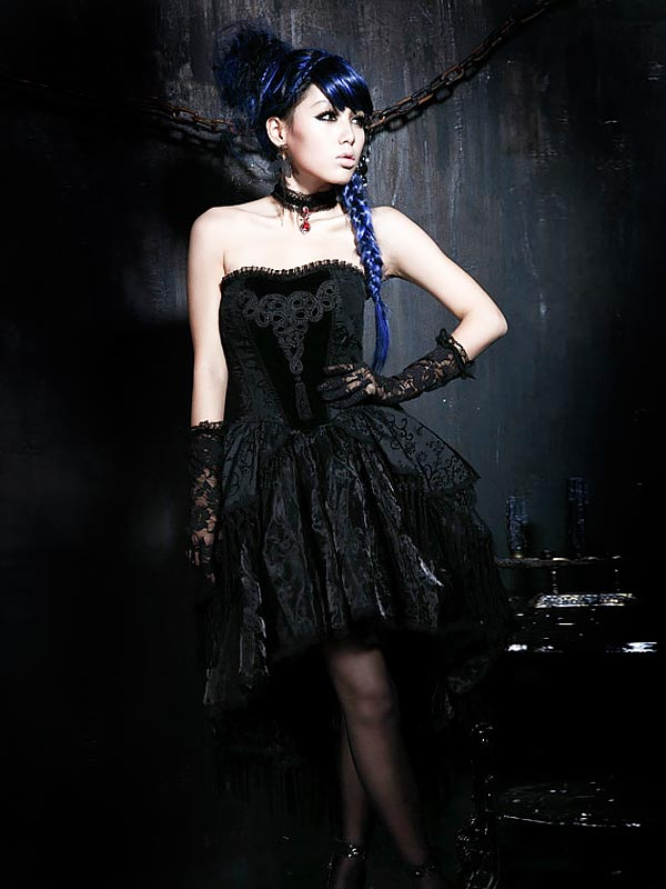 Gothic Chinoiserie Strapless Dress
