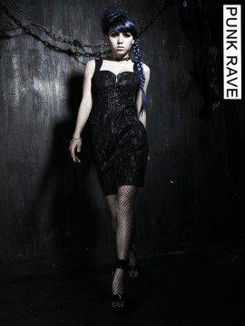 Gothic Stretch Denim Drawstring Dress