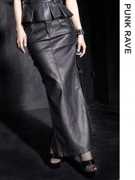 Punk Snake Embossed Leather Long Skirt