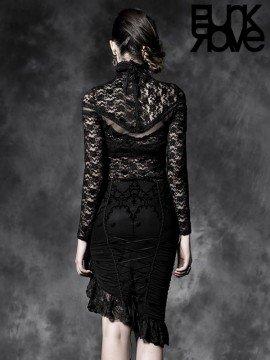 Gothic Flocking Asymmetrical Skirt