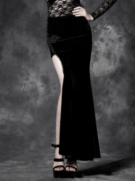 Gothic Palace Black Velvet Asymmetrical Long Skirt