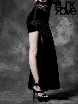 Gothic Palace Black Velvet Asymmetrical Long Skirt