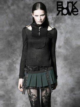 Punk Box Pleat Mini Skirt - Black & Green