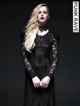 Gothic Two-Piece Black Lace Long Dress