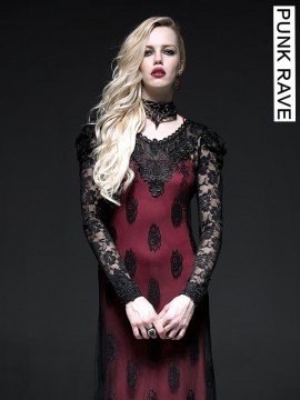 Gothic Two-Piece Black and Red Lace Long Dress