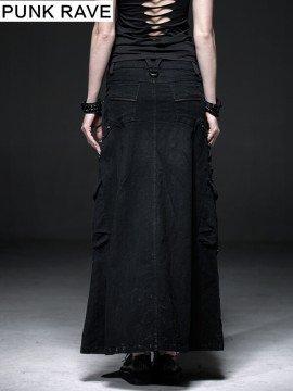 Punk Linen Casual Long Skirt