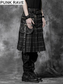 Mens Punk Plaid Kilt - Brown