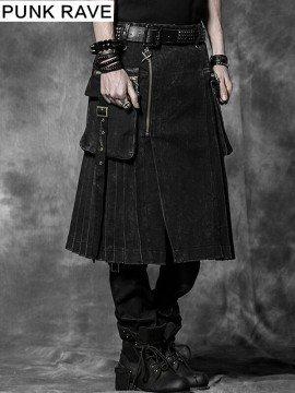 Mens Punk Plaid Kilt - Black