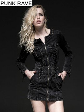 Punk Long Sleeve Vintage Denim Dress
