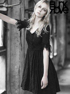 Punk Vintage Shift Dress - Black