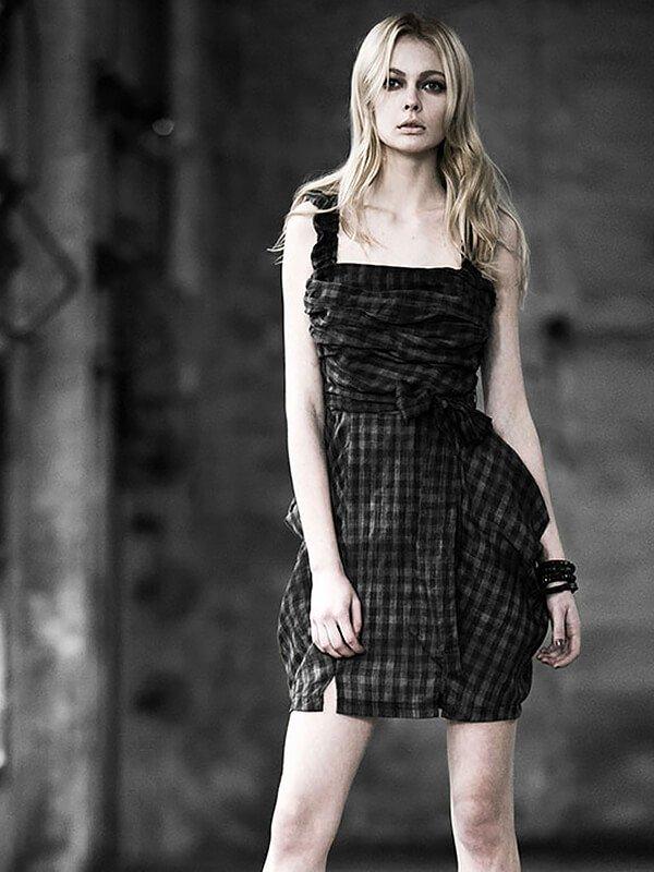 Checkered Gingham Sling Dress - Black