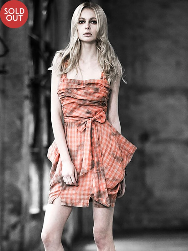 Checkered Gingham Sling Dress - Orange
