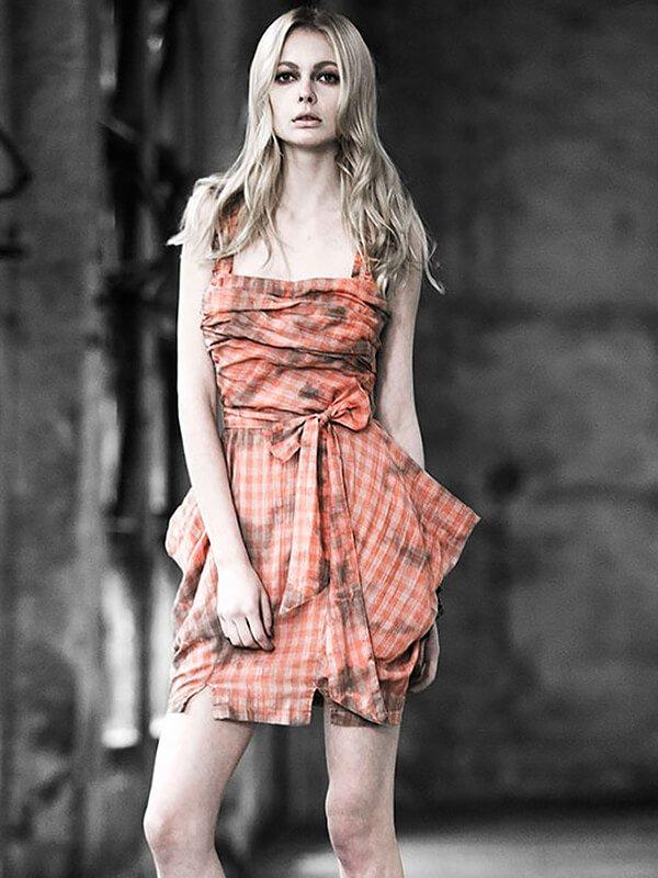 Checkered Gingham Sling Dress - Orange