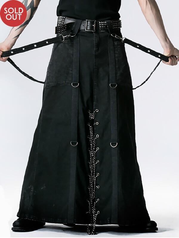 Mens Punk Heavy Metal Long Kilt