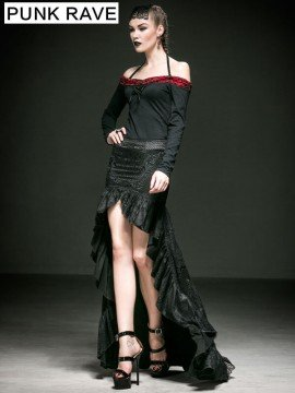 Gothic Palace Lace Long Tail Skirt