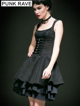 Punk Skull Decorated Under Bust Swing Dress