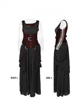Punk Antique Linen Two-Piece Suspender Belt & Corset Dress - Black