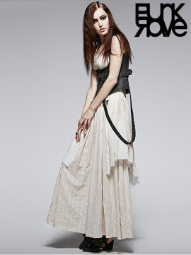 Punk Antique Linen Two-Piece Suspender Belt & Corset Dress - White