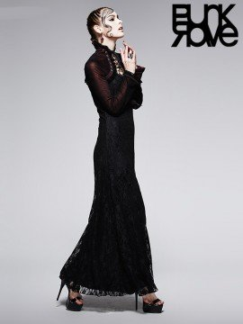 Victorian Gothic Dark Red Lace Dress