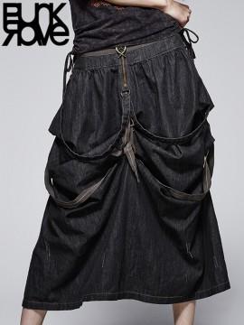 Punk Denim Suspender Belt Two-Wear Skirt