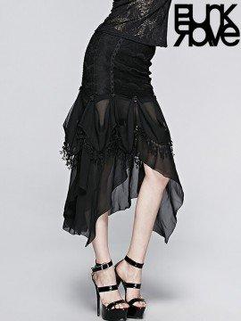 Gothic Chiffon Rose & Leaf Lace Skirt