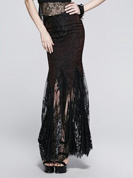 Gothic Wine Red Embroidered Lace Fishtail Skirt