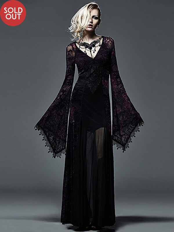 Dark Violet Gothic Long Dress