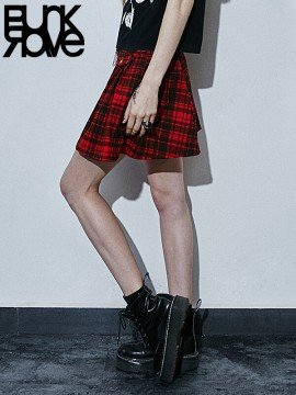Pleated Plaid Punk Skirt - Red