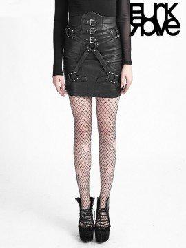 High Waist Leather Bandage Punk Skirt