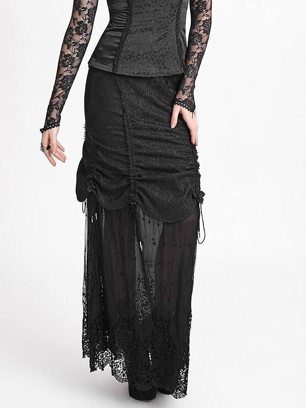 Victorian Gothic Cashmere Lace Long Skirt