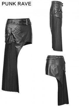Steampunk Fan Tail Leather Skirt