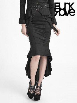 Punk Military Uniform Fishtail Skirt - Black