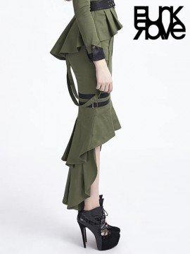 Punk Military Uniform Fishtail Skirt - Army Green