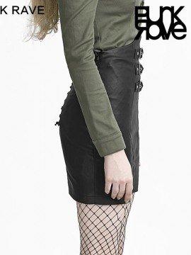 Military Style High Waist Black Leather Skirt
