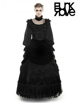 Victorian Gothic Palace Court Velvet Long Skirt