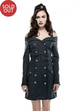Strapless Military Style Uniform Dress